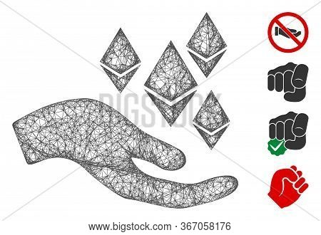 Mesh Ethereum Offer Hand Web Icon Vector Illustration. Carcass Model Is Based On Ethereum Offer Hand