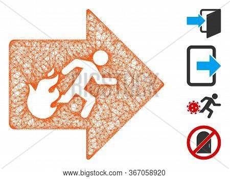 Mesh Fire Exit Web Symbol Vector Illustration. Carcass Model Is Based On Fire Exit Flat Icon. Networ
