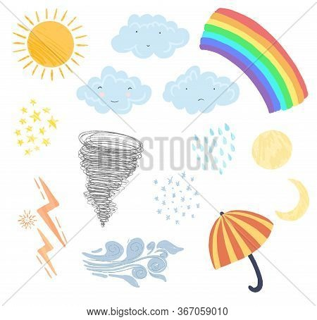 Set Of Cute Textured Cartoon Weather Elements In Pastel Colors. Collection Of Funny Vector Clouds, S