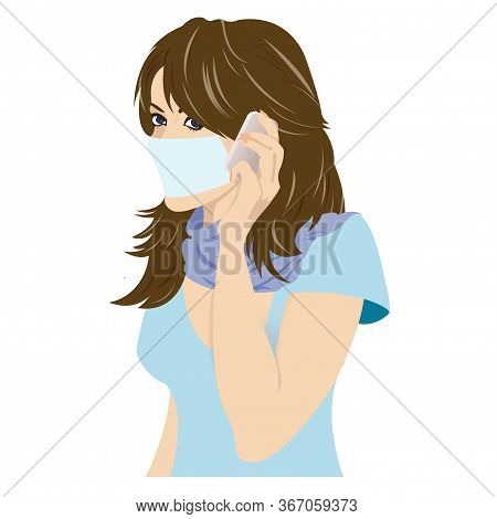 Young Girl With Mask On Phone. Vector Illustration