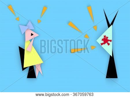 Girl Excited About Watching News, Concept About Covid-19 On Media, Vector Illustration In Abstract S