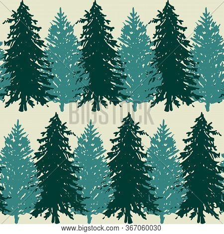 Monochrome Spruce Fir Tree Silhouette Sketched Line Art Seamless Pattern Background Vector