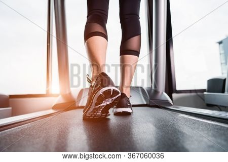 Closeup Legs Young Woman Girl Lifestyle Sport Running On Treadmill Workout Exercise Cardio At Fitnes