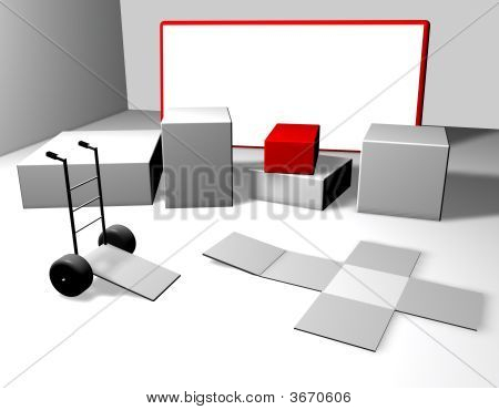 3d room with pack in more collor poster