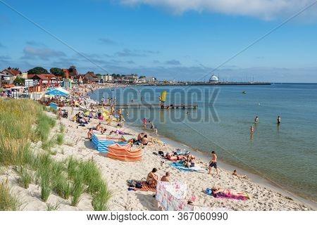 Sopot, Poland - July 24, 2019: Popular beach at Baltic sea at summer in Sopot, Poland