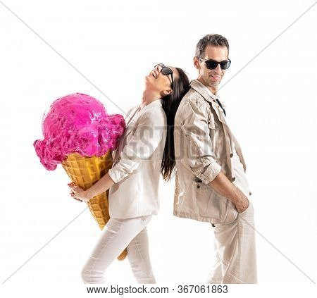 Smiling couple with big portion of ice cream