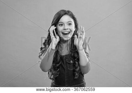 Amazing Story. Happy Little Girl Having Phone Talk. Modern Life Communication. Kid Shopping Online.