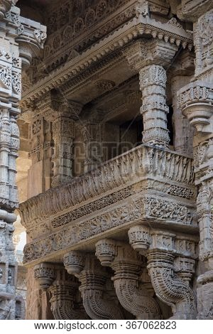 Ahmedabad / India / April 11, 2017: Sculpted Balcony In Sandstone With Lots Of Details