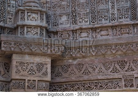 Ahmedabad / India / April 11, 2017: Sculpted Details In Sandstone By Human Hand In India
