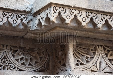 Ahmedabad / India / April 11, 2017: Close Up Of Amazing Sculpted Detail In Sandstone