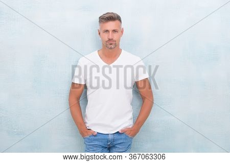 Summer Fashion. Mature Man Casual Outfit. Fashion Model. Handsome Hipster Wear White Shirt. Summer C
