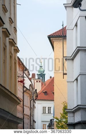 Typical Narrow Street Of Stare Mesto, Michalska Ulice, In The Historical Center Of Prague, Czech Rep