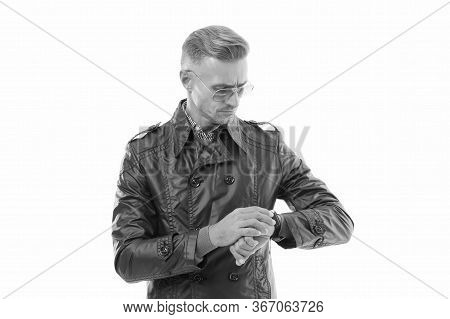 It Is Time. Status And Reputation. Man Mature Well Groomed Handsome Model With Wrist Watch. Expensiv