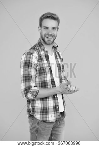 Handsome Man In Checkered Shirt And Jeans. Happy Student Yellow Background. Make Look Good. Casual F