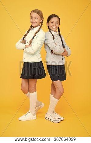 My Dear Friend. First School Day. Sisterhood And Friendship. Cheerful Mood Concept. School Friendshi