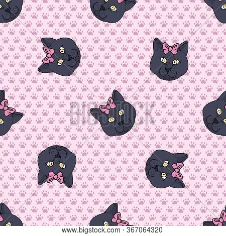 Cute Cartoon British Shorthair Cat Face With Pink Bow Seamless Vector Pattern. Pedigree Kitty Breed