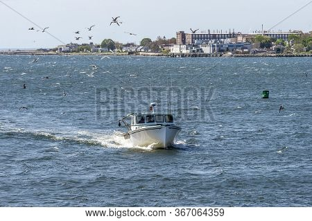 New Bedford, Massachusetts, Usa - May 19, 2020: Lobster Boat Robins Rival, Hailing Port Marion, Ma,