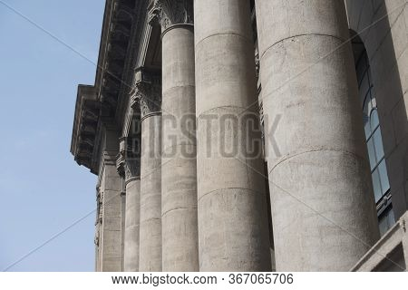 Stone Columns And Column Head Stone Carvings Of Ancient European Buildings In Tianjin