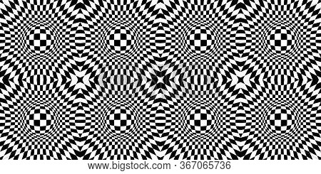 Abstract Optical Illusion. Chess Board With Psychedelic Spherical Volume. Contrasty Optical Psychede