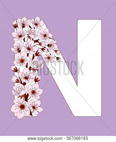 Capital Letter N Patterned With Hand Drawn Doodle Flowers Of Cherry Blossom. Colorful Vector Illustr