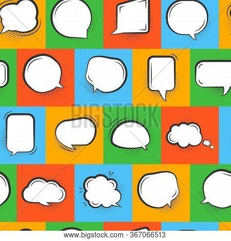 Pop Art Speech Buble Seamless Pattern. Comic Limitless Background With Message Sign. Flat Cartoon Cl