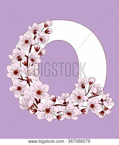 Capital Letter Q Patterned With Hand Drawn Doodle Flowers Of Cherry Blossom. Colorful Vector Illustr