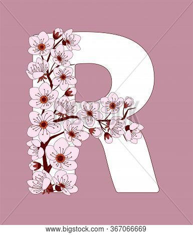 Capital Letter R Patterned With Hand Drawn Doodle Flowers Of Cherry Blossom. Colorful Vector Illustr