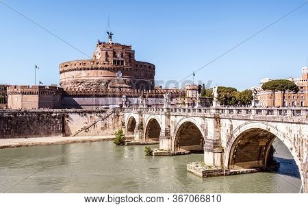 Castel Sant'angelo Or Castle Of Holy Angel, Rome, Italy. It Is Old Landmark Of City. View Of Famous