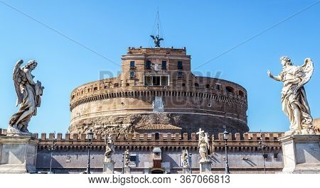 Castel Sant'angelo Or Castle Of Holy Angel, Rome, Italy. It Is Old Landmark Of City. Front View Of F