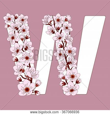 Capital Letter W Patterned With Hand Drawn Doodle Flowers Of Cherry Blossom. Colorful Vector Illustr
