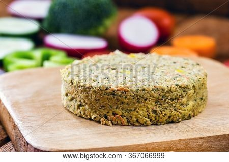 Closeup Of Roasted Vegetarian Hamburger, Dessert Or Meatless Snack. Home Made With Vegetables, Chick