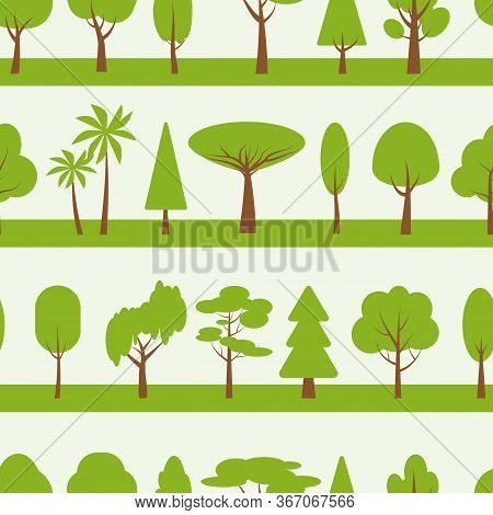 Green Tree Seamless Pattern. Various Forest Line Limitless Background. Flat Cartoon Ecology Nature S
