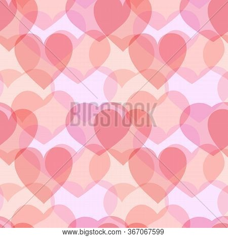 Overlay Pink Hearts Seamless Pattern. Overlapping Romantic Love Limitless Background Multiply Repeat