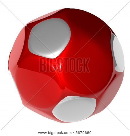 cool red soccer ball in white back ground poster