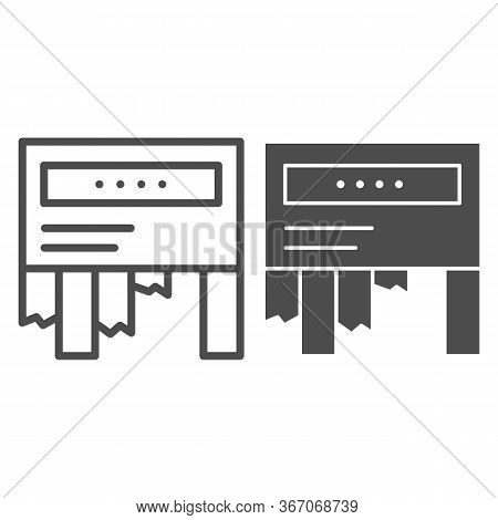 Tear-off Ad Line And Solid Icon. Tear Off Paper Notice On The Wall Symbol, Outline Style Pictogram O