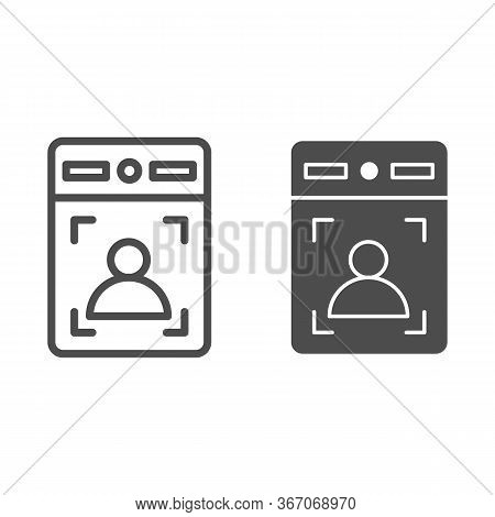 Intercom With Guest Line And Solid Icon, Smart Home Symbol, Person Recognition Vector Sign On White