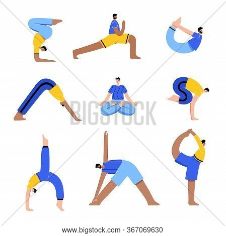 Set Of Men Performing Yoga Exercises At Home Or At Work. Different Isolated Poses. Adult Male Cartoo