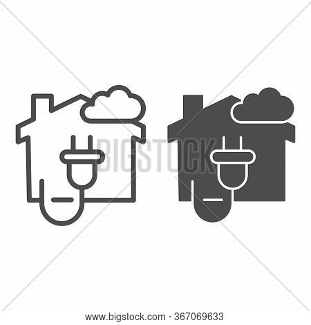 House With Electric Plug And Cloud Line And Solid Icon, Smart Home Symbol, Modern Technology Vector