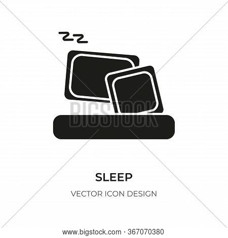 Sleep Glyph Icon. Flat Style Graphic Design Template For Logo, App, Ui. Pictogram Silhouette Simple