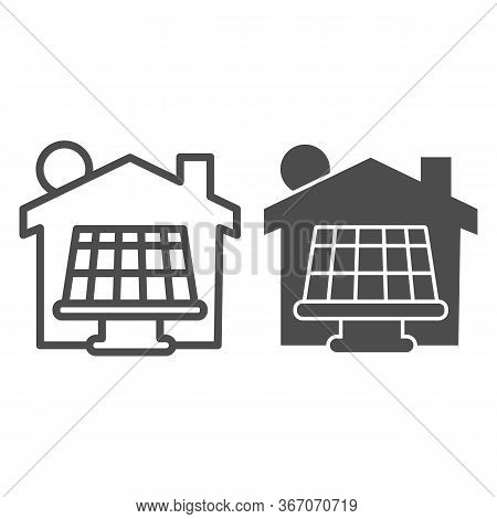 Solar Battery With Sun And House Line And Solid Icon, Smart Home Symbol, Solar Panels Batteries And