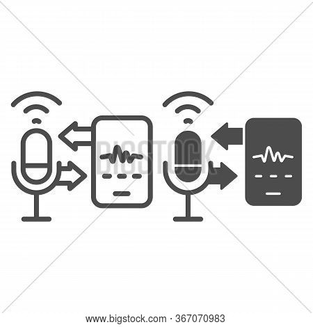 Microphone And Sound Recording With Smartphone Line And Solid Icon, Smart Home Multimedia Symbol, Sp