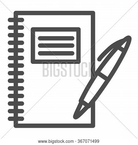 Notebook And Pen Line Icon, School Supplies Concept, Writing Pad With Pen Sign On White Background,