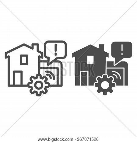 House Garage With Mechanic Gear Line And Solid Icon, Smart Home Symbol, Automated Door With Remote C
