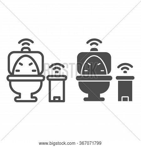 Smart Toilet And Garbage Can Line And Solid Icon, Smart Home Symbol, Remote Control House Technology