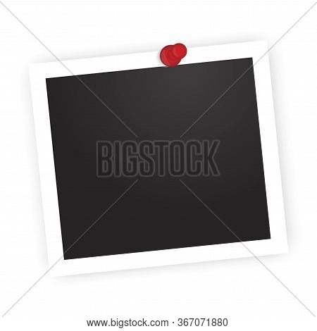 Attached Pin Framed Photo. Vector Image Photoframe. Stock Template.