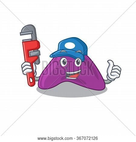 Cartoon Character Design Of Adrenal As A Plumber With Tool