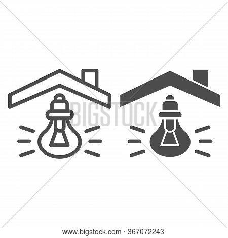 Light Bulb Under House Roof Line And Solid Icon. House Light On Symbol, Lamp On Outline Style Pictog