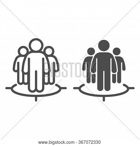 Human Target Team Line And Solid Icon. Focus Group And Target Audience Symbol, Outline Style Pictogr