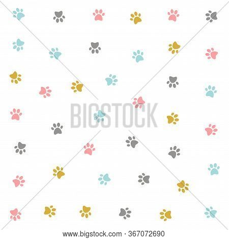 Cute Colorful Kitten Pow Pattern Vector Design Illustration