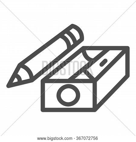 Pencil And Sharpener Line Icon, Stationery Concept, Sharpened Wooden Pencil Sign On White Background